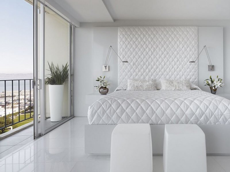 bedrooms-modern-clean-white-bedroom-decoration-with-sliding-glass-door-and-twin-wall-mount-lamps-also-tetragon-pattern-headboard-16-cool-and-modern-white-bedroom-designs