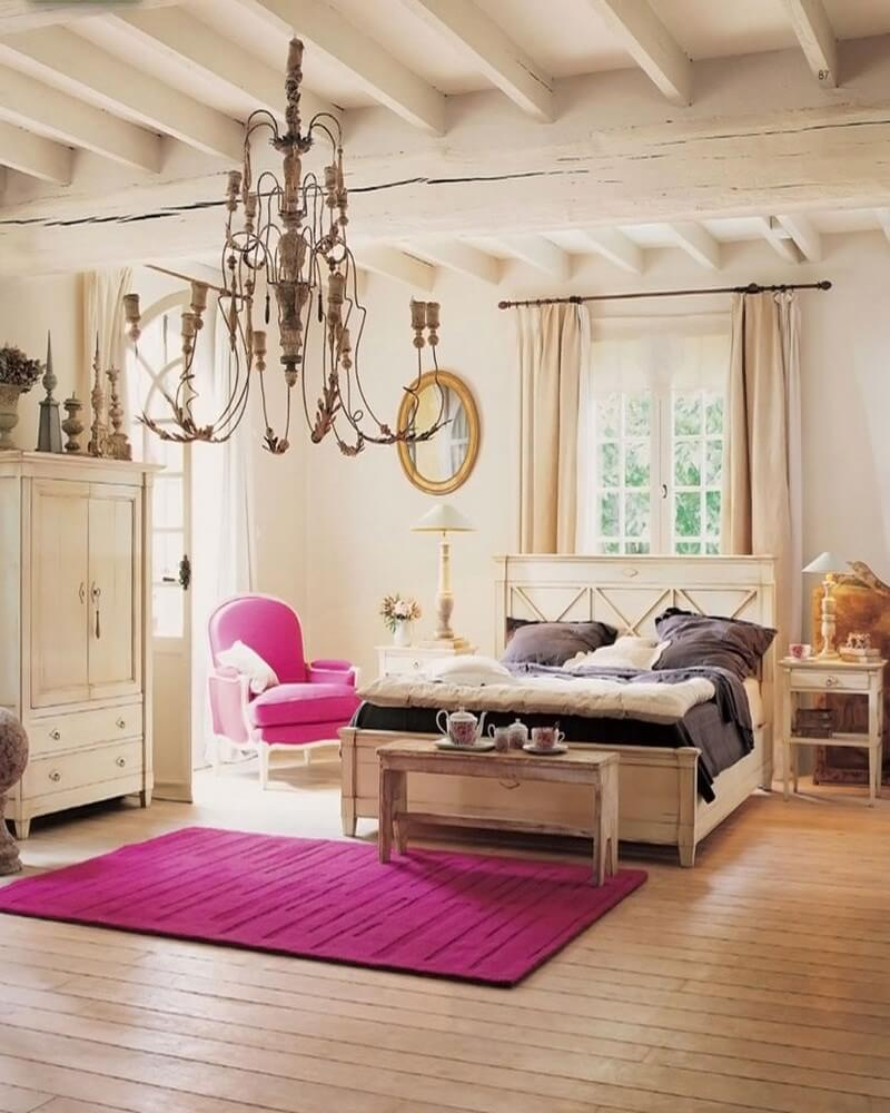 interior-wonderful-country-home-decor-idea-for-bedroom-with-fuchsia-rug-fuchsia-armchair-dark-brown-pillows-and-white-wardrobe-chic-country-home-decor-ideas