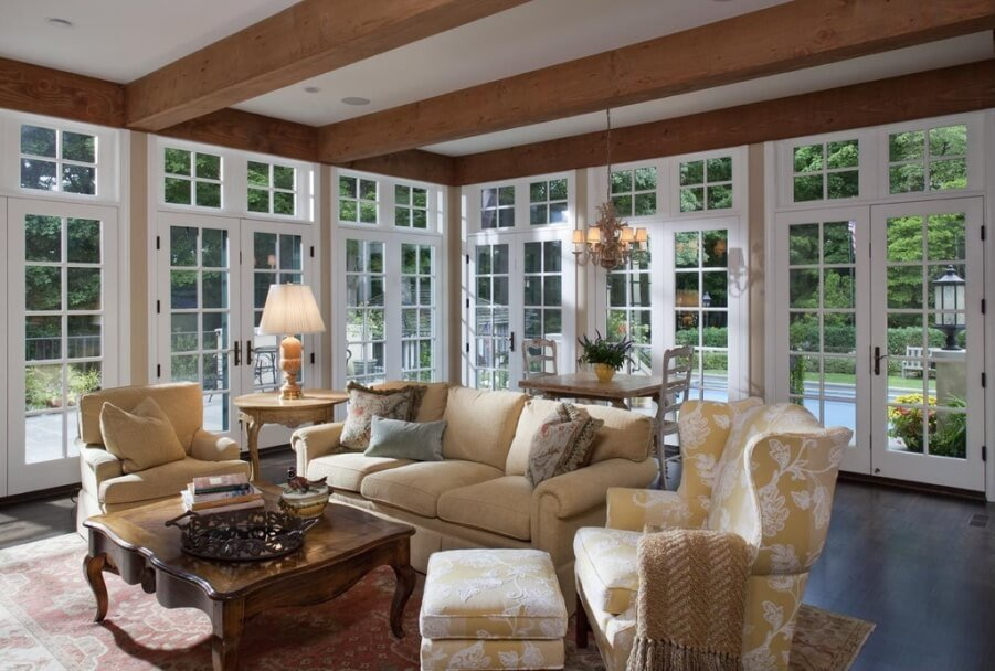 Airy Living Room with Exposed Beams