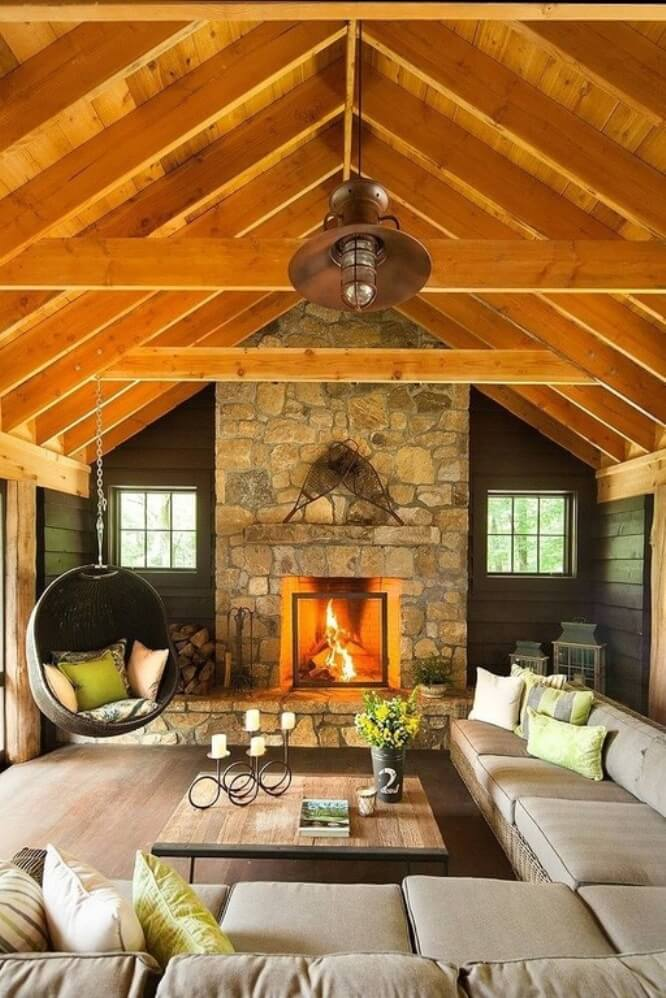10 cozy living room interior with exposed roof beam design for Post and beam living room ideas