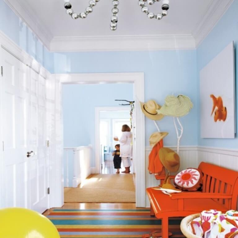 Colorful Beach House Inspired Hallway
