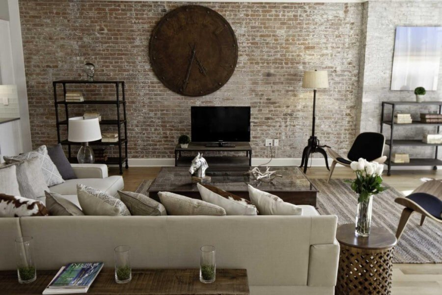 Cool-Industrial-Warehouse-Living-Room-Decor-Ideas-with-Vintage-Sectional-Sofa-and-Contemporary-Chairs-Design-Ideas