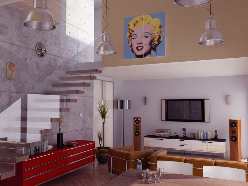 10 modern pop art living room interior design ideas for Cool modern living rooms
