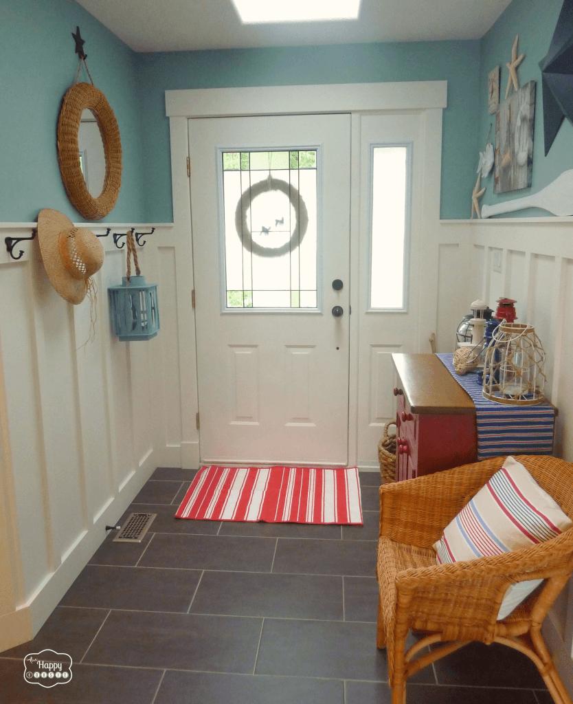 Red and Blue Coastal hallway