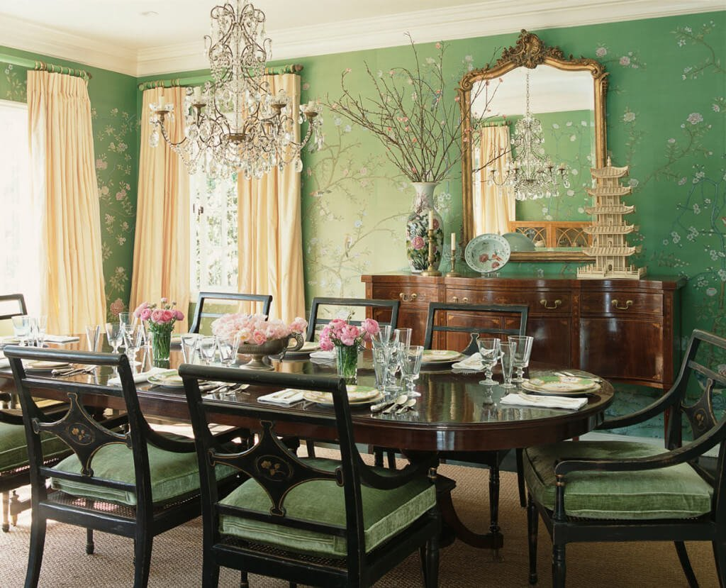 10 relaxing green dining room interior design ideas for Dining room interior images