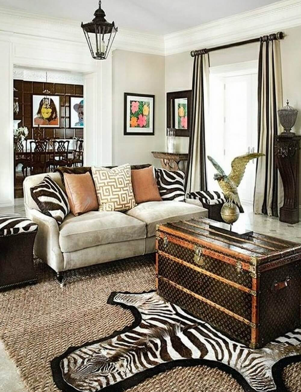 Make your rooms look fierce and wild by using zebra print for Leopard print living room ideas
