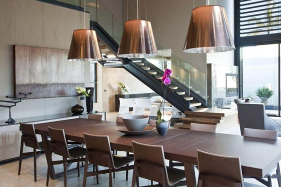 contemporary-dining-room-idea-with-rustic-industrial-hanging-lamp-design