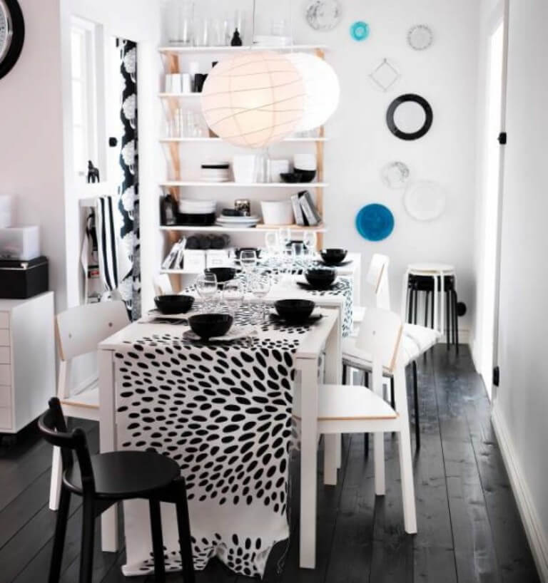 Black and white Ikea Dining Room