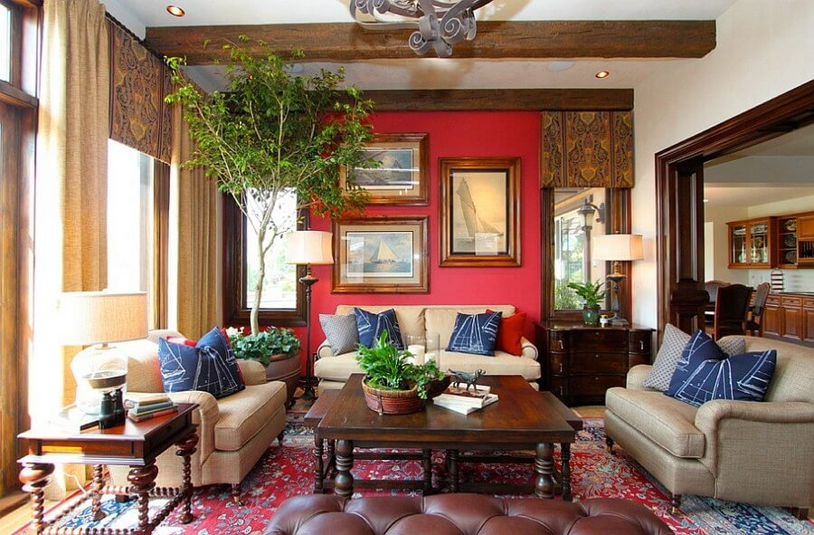 Elegant Red Living Room