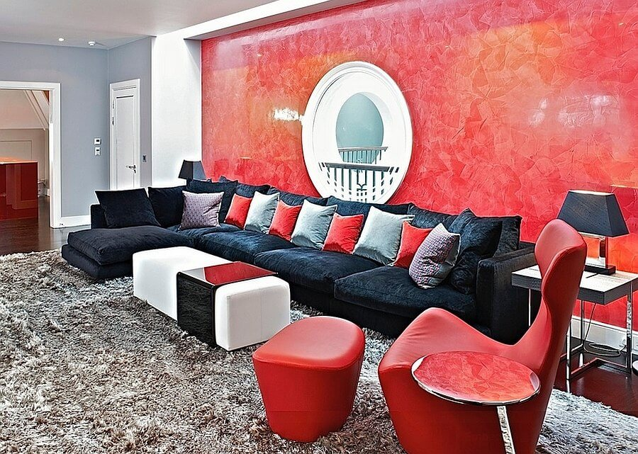Modern Red Living Room