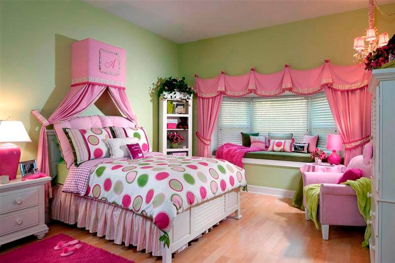 10 inspiring teenage girl bedroom interior design ideas for Pink green bedroom designs