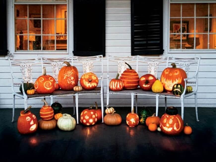 Pumpkins Hallowen Porch Idea