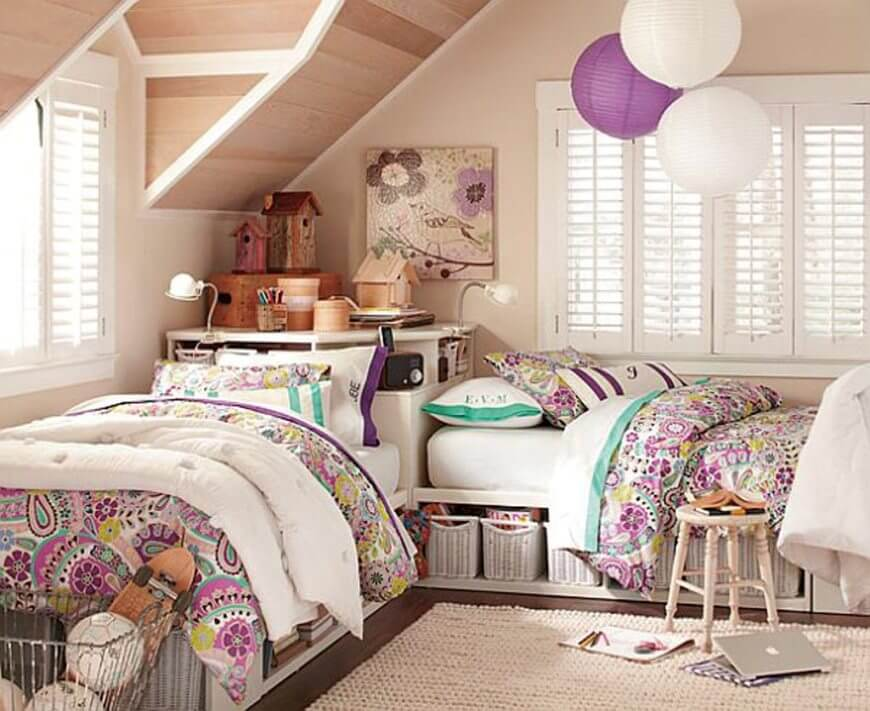 10 inspiring teenage girl bedroom interior design ideas for Bedroom ideas for girls sharing a room