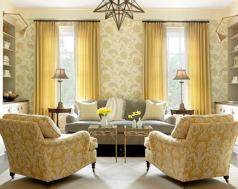 Charming Gray and Yellow Living Room