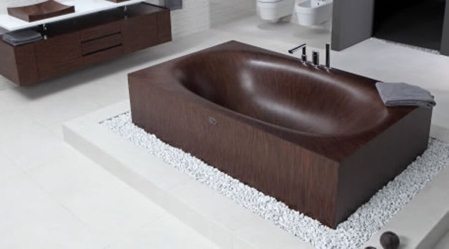 Dark Wooden Bathtub