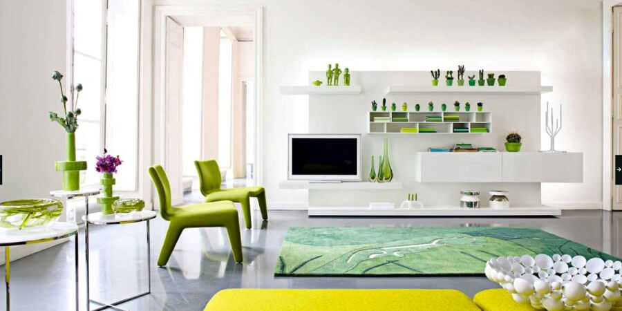 Homey Green and White Living Room