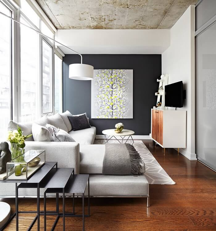 Modern Gray and Yellow Living Room