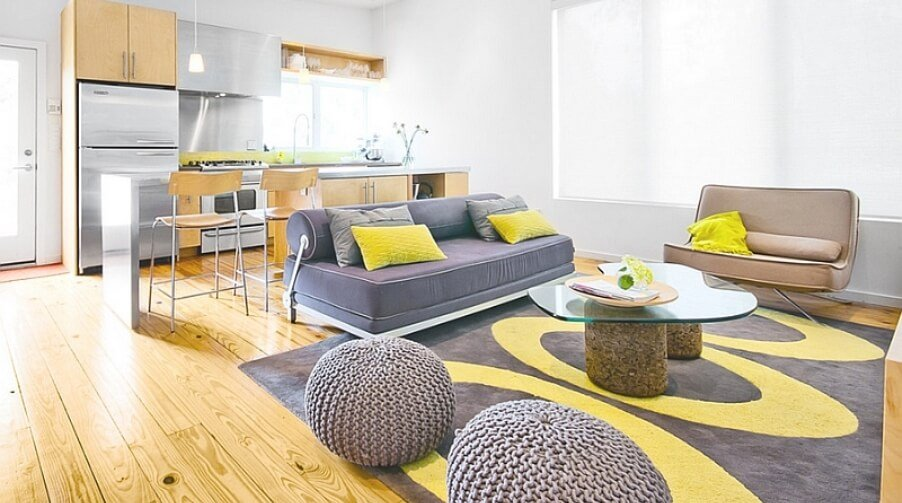 Pastel Gray and Yellow Living Room