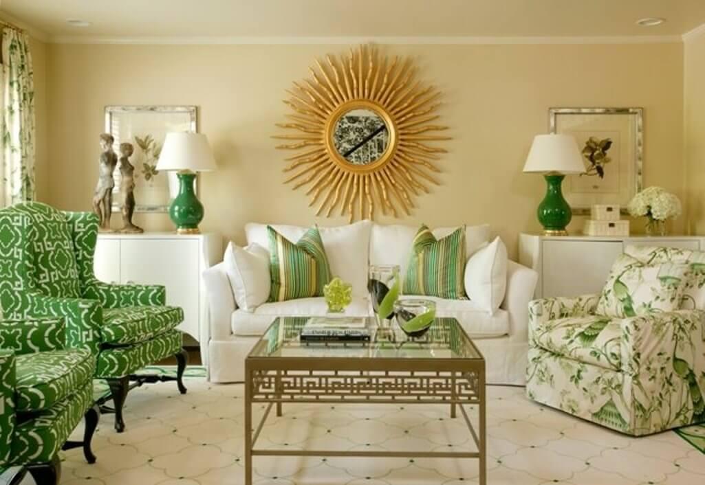 Splendid Green and White Living Room