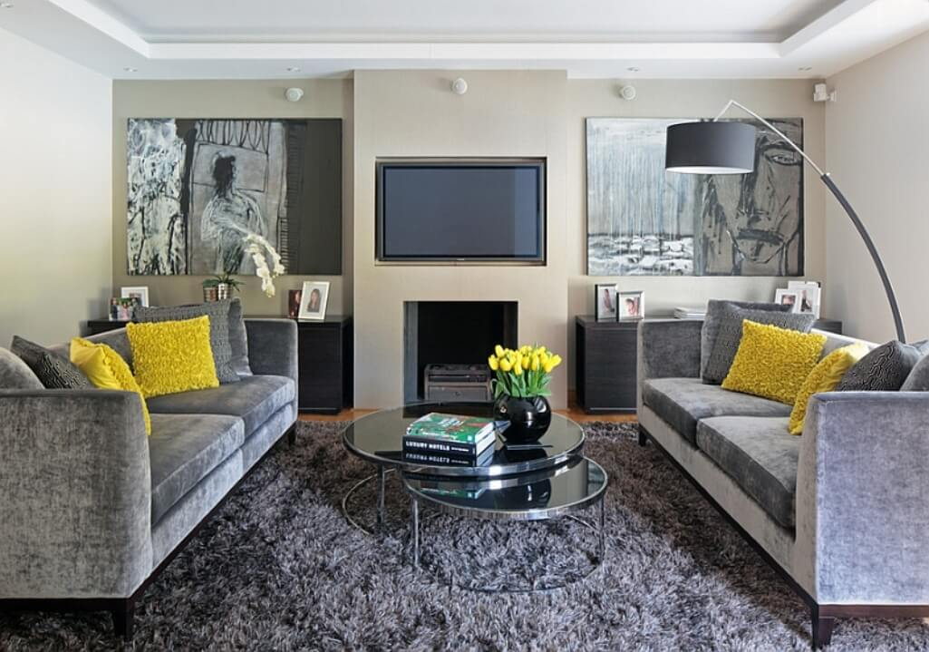 Yellow and gray living room