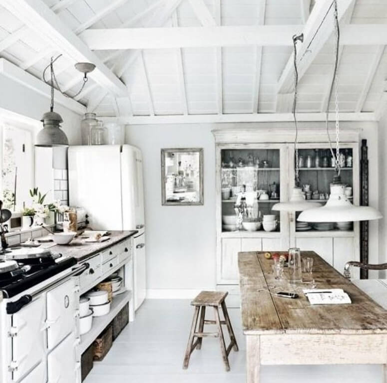 White Scandinavian Rustic Kitchen