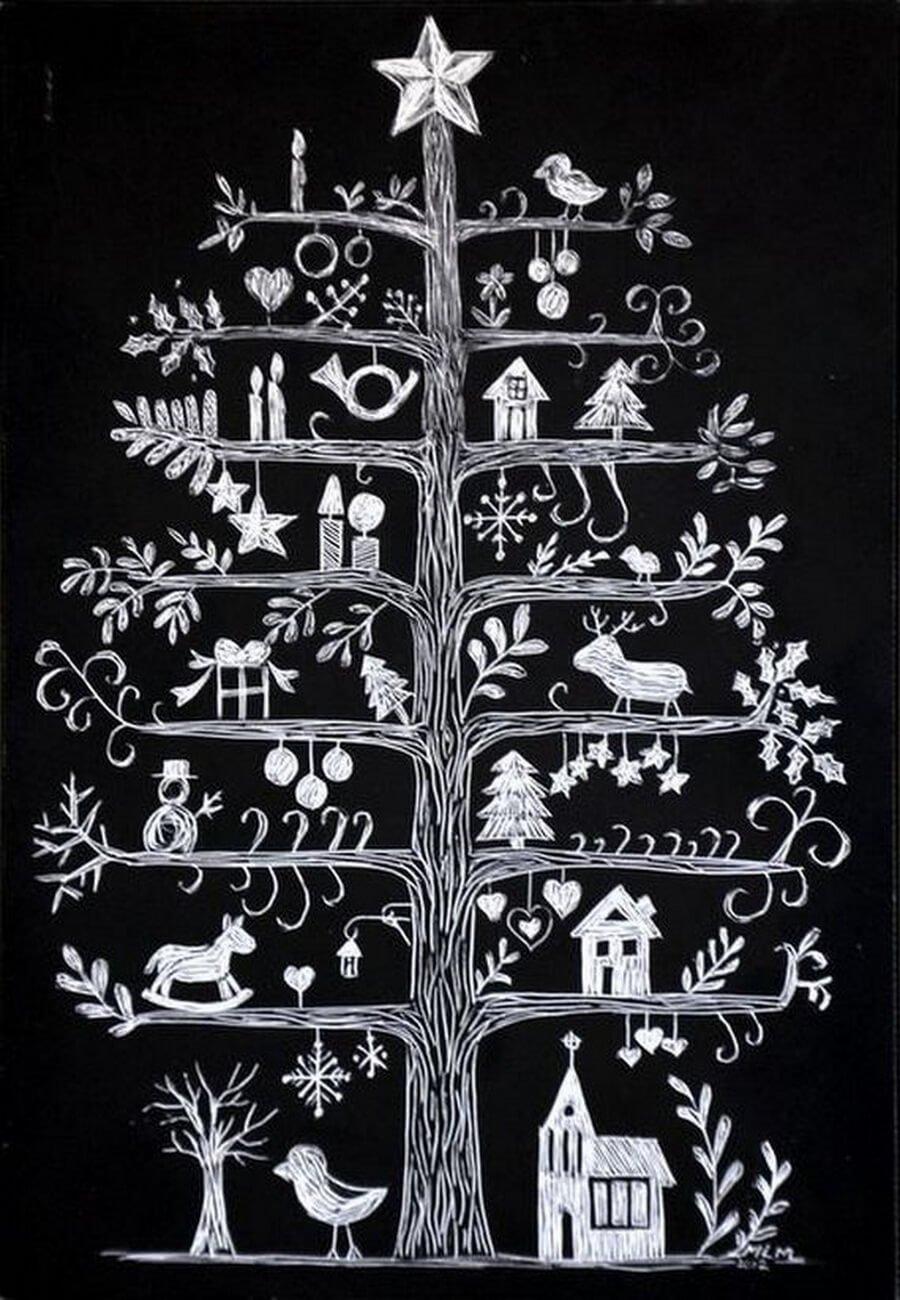 Chalkboard art style holiday tree