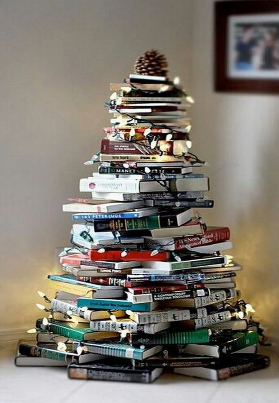 Christmas tree built out of books