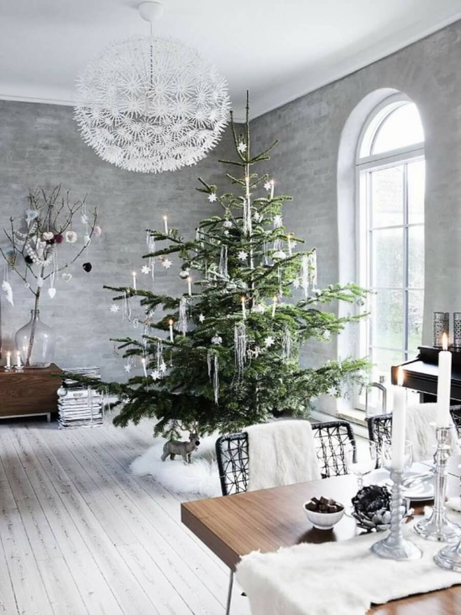 Grey living room with green snowy tree