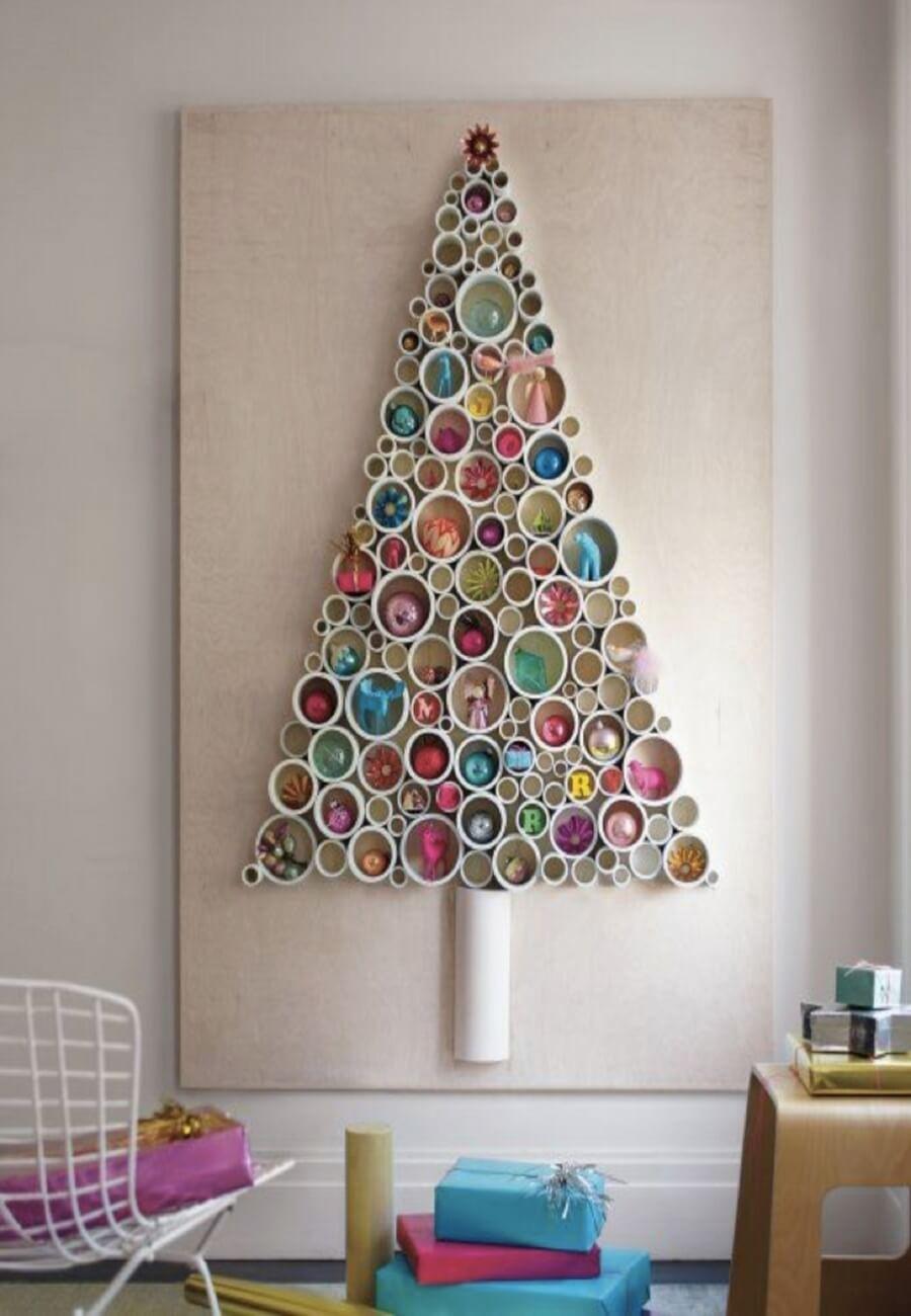 Awesome cardboard tube colorful Christmas tree on wall