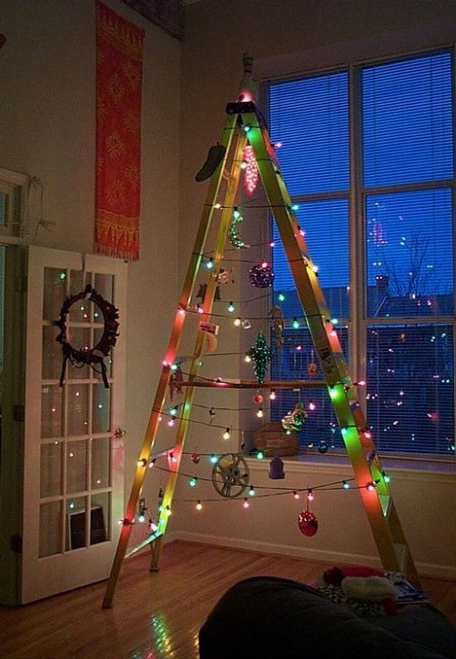 Ladder turned into a Christmas tree