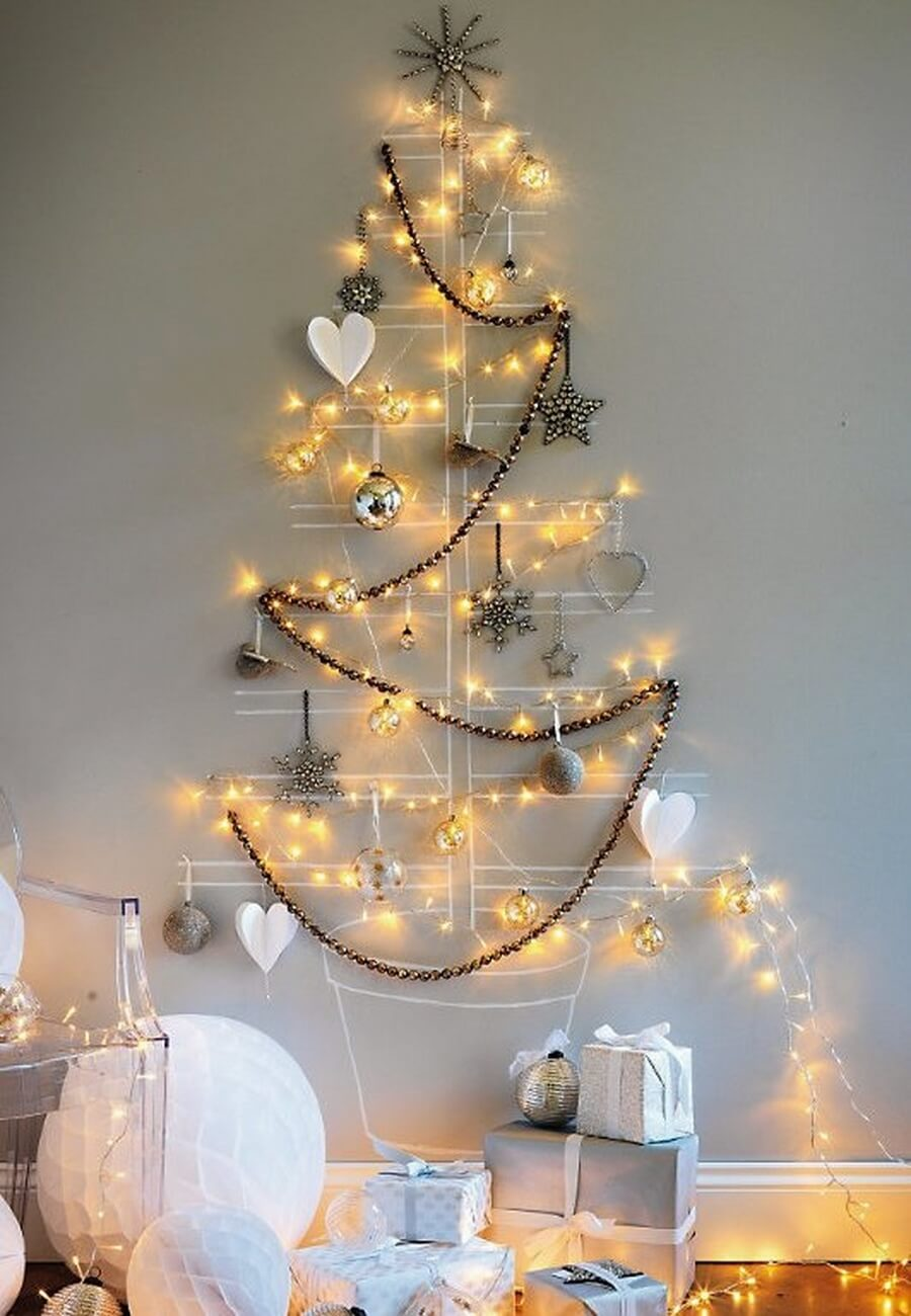 Wall art Christmas tree with lights and ornaments
