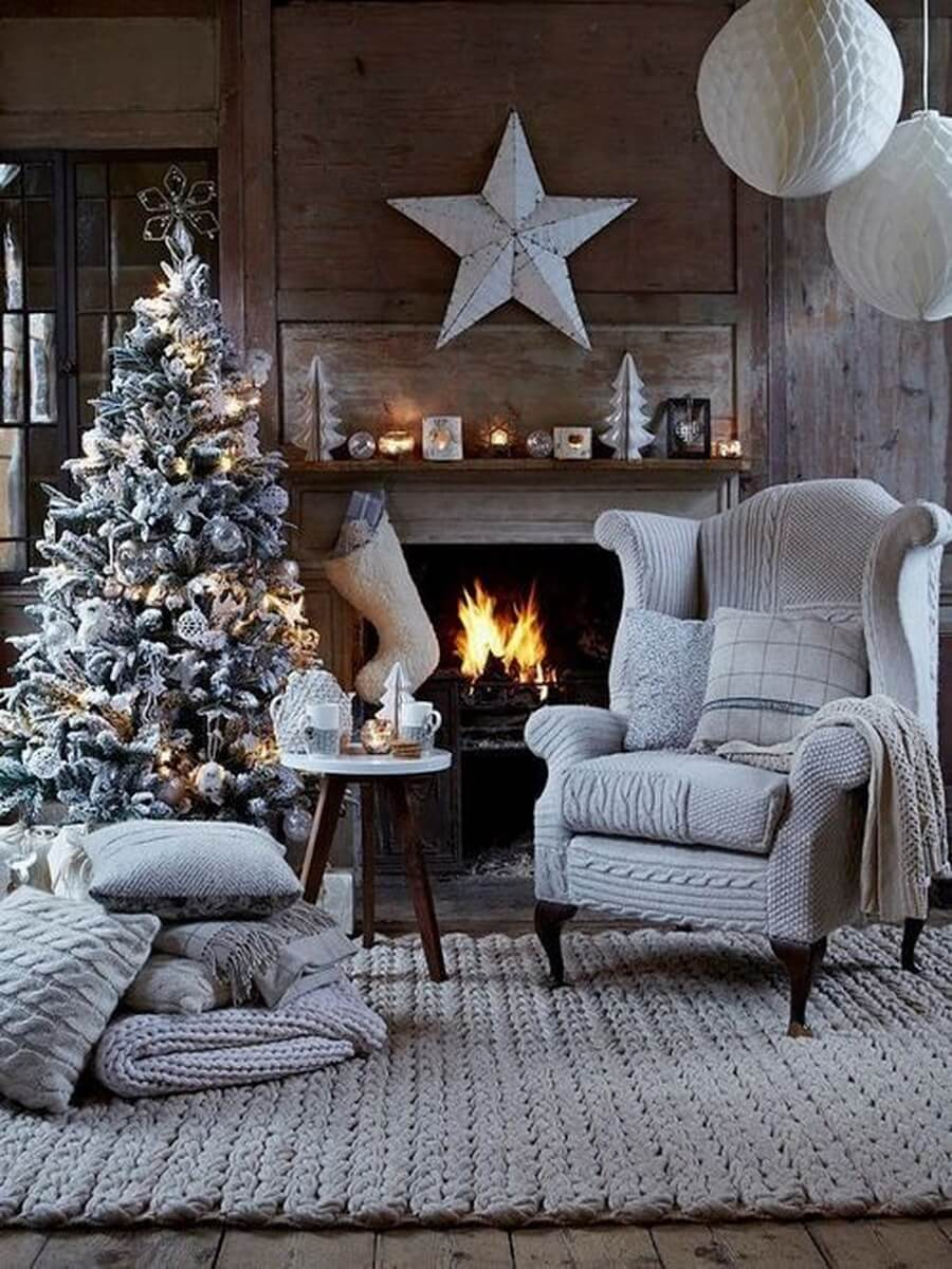 Grey Christmas decor in living room