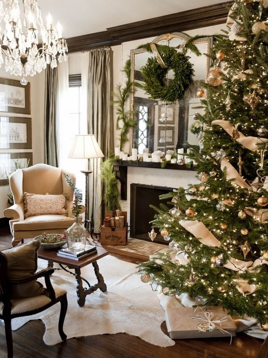 Elegant living room with Christmas tree