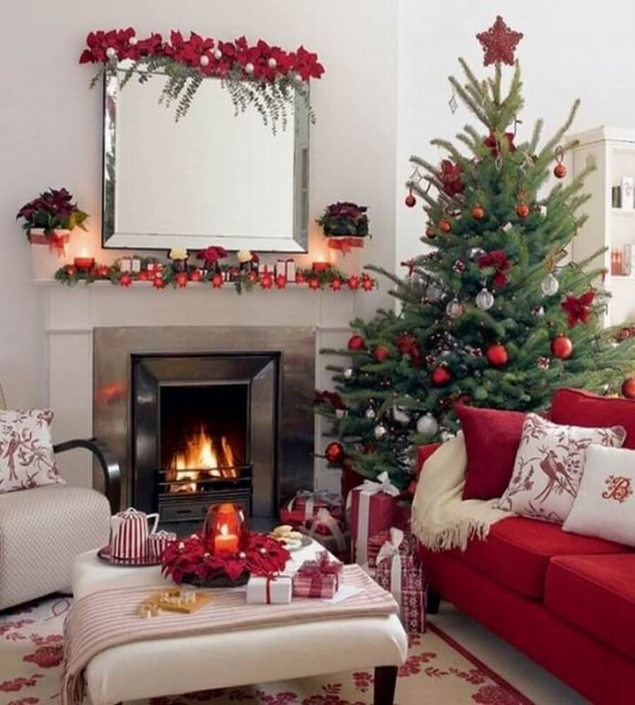 Dreamy red and green traditional living room decorated for the holidays
