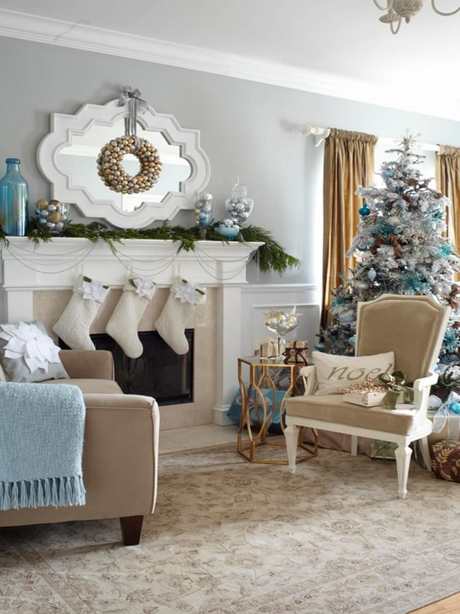 Light blue and white Christmas decor