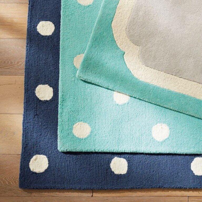 Blue Polka Dotted Rug