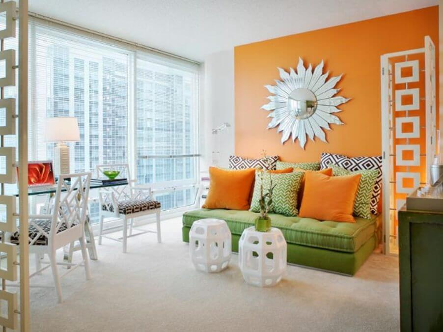 Chic Tangerine and White Living Room