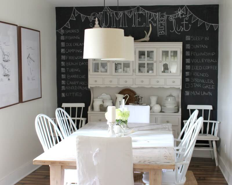Classy Dining Room with Chalkboard Wall