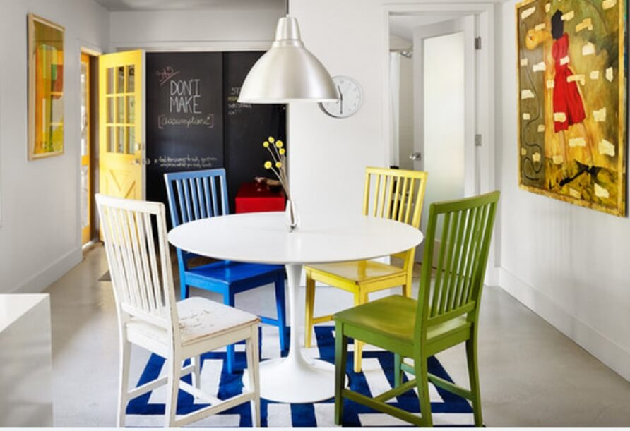 Colorful Dining Room with Chalkboard Wall