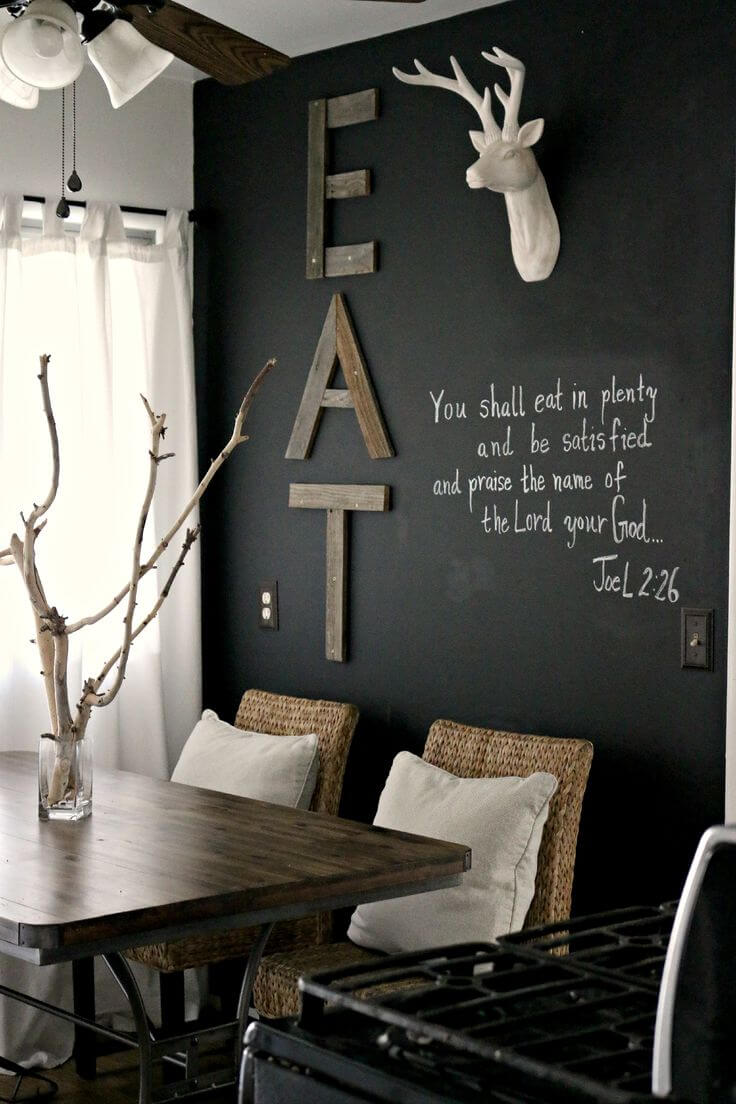 Cool Dining Room with Chalkboard Wall