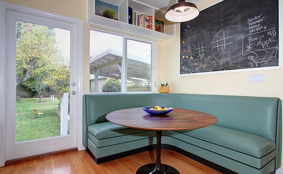 Corner Dining Room with Chalkboard Wall