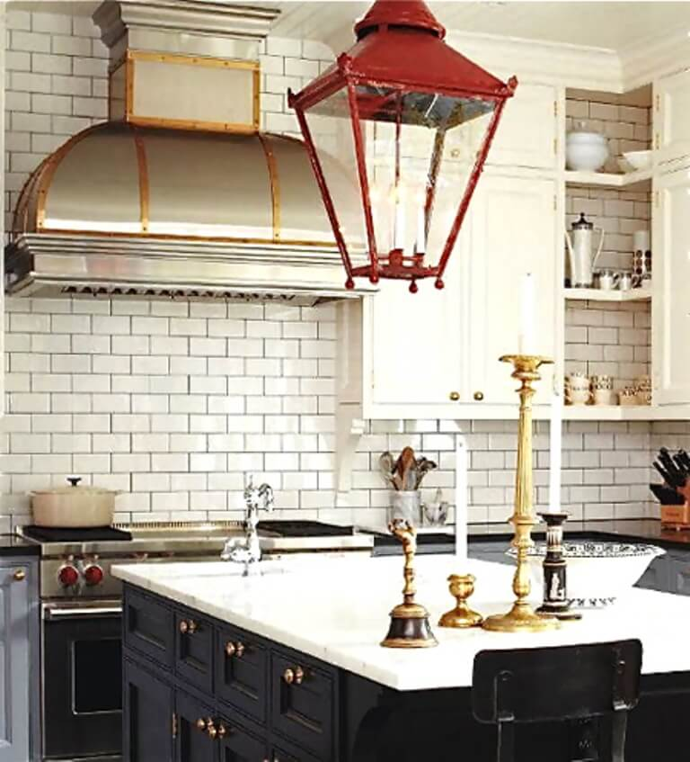 Eclectic Kitchen with brass accents