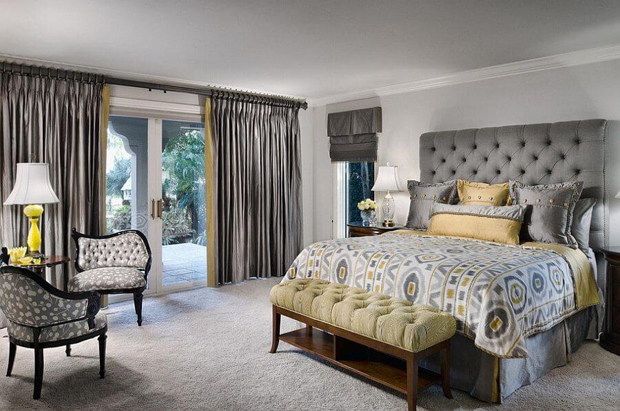 Elegant Gray and Yellow Bedroom