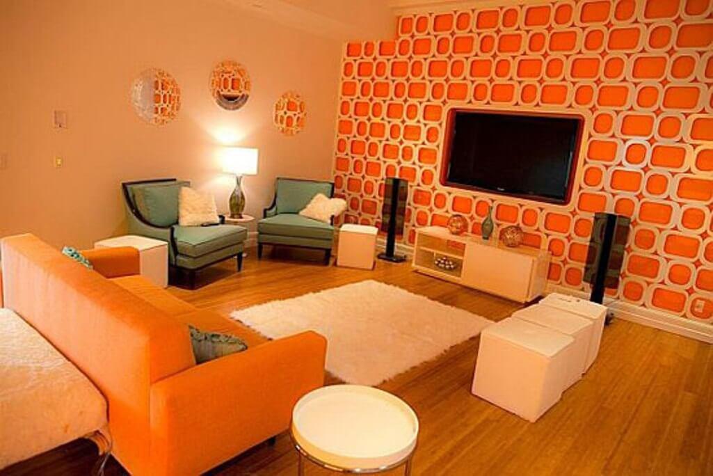 Funky Tangerine and White Living Room