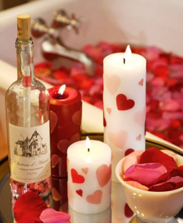 Heart printed candles