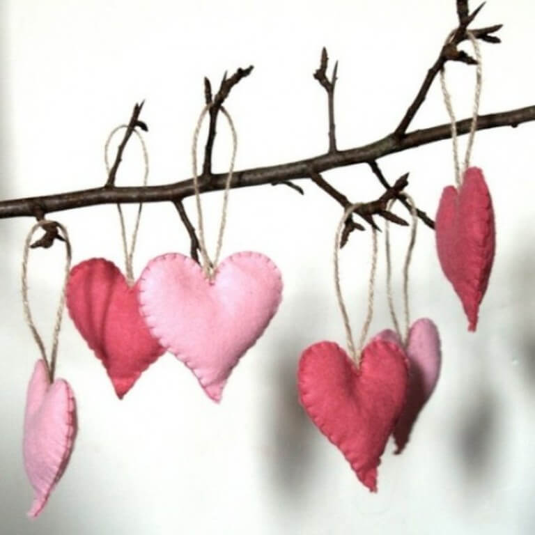 Knited Pink Heart Ornaments
