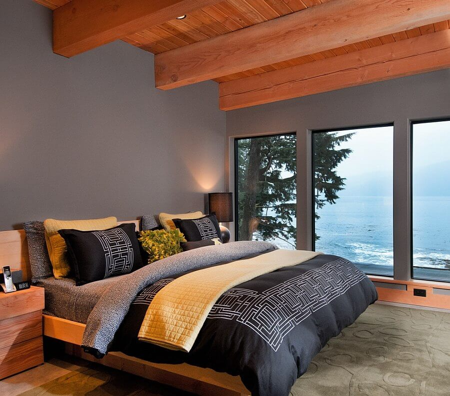 Mascluine Gray and Yellow Bedroom