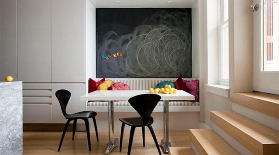 Minimalist Dining Room with Chalkboard Wall
