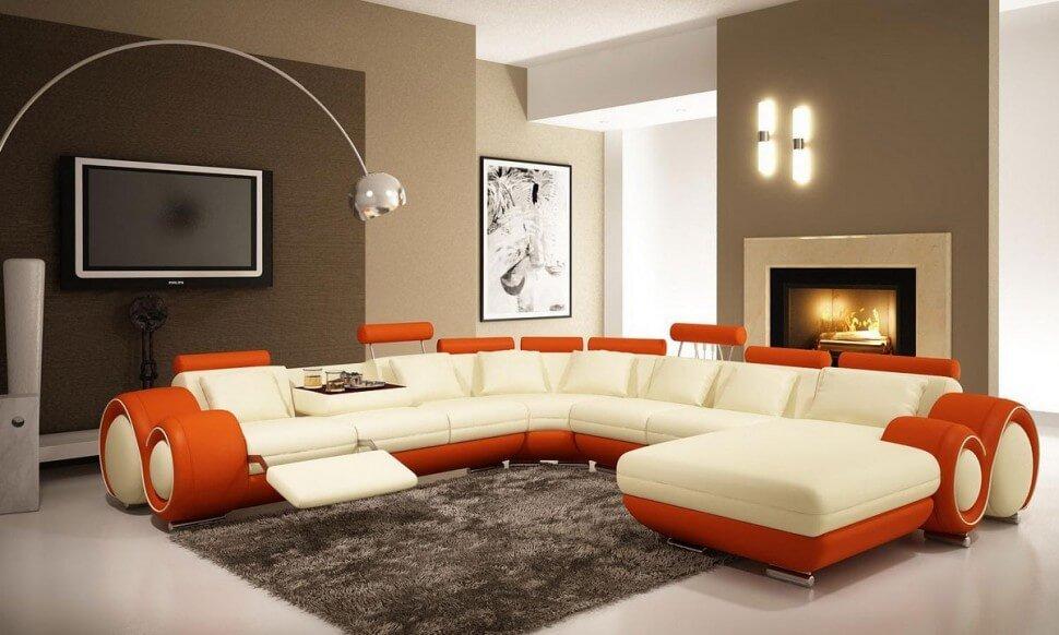 Modern Tangerine and White Living Room