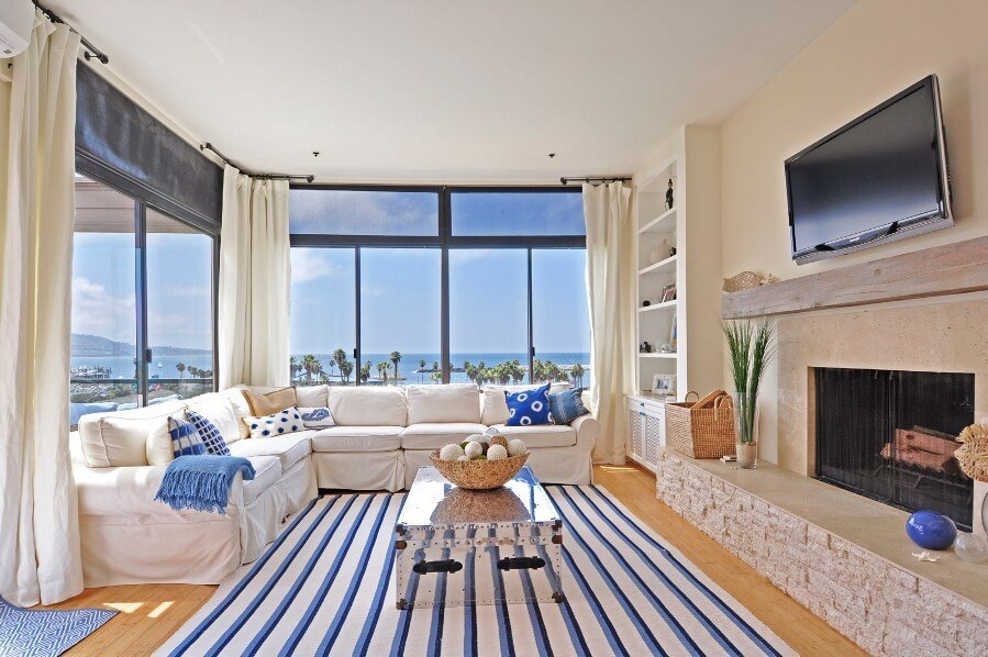 Nautical Striped Area Rug